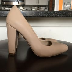 Bamboo Chunky Heel Nude Pump Stacked chunky heel (very comfortable); faux leather Bamboo Shoes Heels