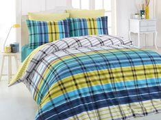 Lenjerie de pat Ranforce Riva V4 #homedecor #interiordesign #inspiration #bedroom #bedroomdecor Dark Blue Green, Blue And White, Quilt Cover Sets, Quilt Bedding, King Beds, Comforters, Duvet Covers, Blanket, Modern