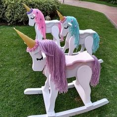 Ride-on unicorn rocking toys Unicorn Bedroom, Unicorn Rooms, Unicorn Birthday Parties, Unicorn Party, Unicorn Rocking Horse, Unicorn Crafts, Rainbow Unicorn, Wood Toys, Girl Nursery