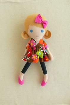 Fabric Doll Rag Doll Honey Blond Haired Girl in by rovingovine