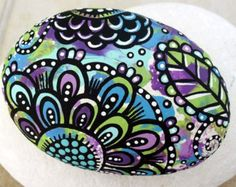 Hand Painted Colorful One of a Kind Abstract Floral Original Art River Rock Stone Paper Weight
