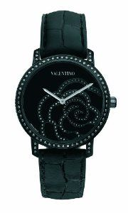 Valentino Women's Rose Black Diamond Bezel and Dial Crocodile Leather Watch Valentino Watches, Valentino Women, Tiffany And Co, Girls Best Friend, Luxury Watches, Cool Watches, Black Diamond, Colored Diamonds, Michael Kors Watch
