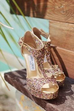 Sparkly Jimmy Choo wedding shoes | A Vintage Chic Wedding in the Dominican Republic | Photography by AMANDA JULCA