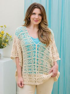 Mercerized Cotton Yarn, Lacy Tops, Lion Brand Yarn, Easy Crochet Patterns, Matching Outfits, Aztec Earrings, Summer Looks, Crochet Hooks, Color Pop
