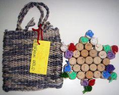 Saco de lã e base para tachos com rolhas de cortiça (feito com crianças de 5 anos)