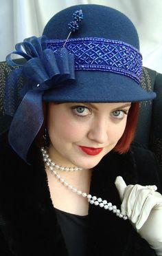 Navy Blue Wool Cloche 1920s Hat Blue Beaded by LadyKatherineHats, $59.00 Organza Ribbon, Ribbon Bows, Grosgrain Ribbon, 1920s Hats, Cloche Hat, Blue Wool, Hat Pins, Fascinators, Blue Beads