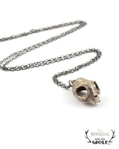 Cat Skull Necklace, skull necklace, rock chic necklace, cool fashion jewelry, animal skull, kitten skull pendant, statement piece. $49.00, via Etsy.