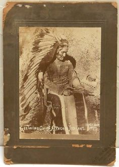 Geronimo Chief of Apache Indians Native American Very Rare 1890s Sepia Antique Photograph Markham Cabinet