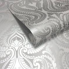 I Love Wallpaper™ Shimmer Damask Wallpaper Soft Grey / Silver (ILW980043) - I Love Wallpaper™ from I love wallpaper UK