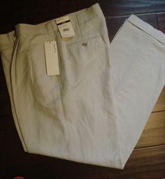 NWT Perry Ellis Linen Blend Pants Mens 36 x 32 Beige Pleated Cuffed NEW #PerryEllis #DressPleat