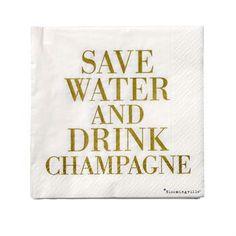 Save Water Servietten - 33 x 33cm - Bloomingville