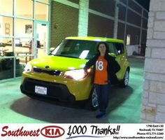 THIS IS MY 2ND TIME BUYING A VEHICLE FROM KIA OF ROCKWALL FROM GARY GUYETTE. I HAVE BEEN IMPRESSED WITH THE EXCEPTIONAL CUSTOMER SERVICE I HAVE USED THE SERVICE CENTER AT THE DEALERSHIP FOR ALL SERVICING OF MY VEHILCE AND HAVE BEEN VERY SATISFIED. I RECOMMEND BOTH THE KIA SOUL AND ROCKWALL KIA TO ALL MY FRIENDS - HEATHER SMOTHERS, Saturday, February 01, 2014 http://www.southwestkia-rockwall.com/?utm_source=Flickr&utm_medium=DMaxx&utm_campaign=DeliveryMaxx