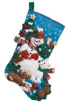 this is an bucilla felt applique christmas stocking kit bucilla felt kits include everything needed to complete the kit - Christmas Stocking Kits