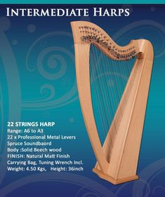 Tycoonwise | 22 Strings Ashwood Irish Harp, Carry bag & Tuner | | eBay Irish Celtic, Carry Bag, Harp, Hand Engraving, Ebay