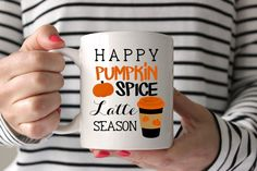 Happy Pumpkin Spice Latte Season Coffee Mug by ThePaperTrailCo