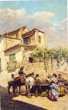 En la fuente-Valencia colección particular-  Joaquín Agrasot Juan (Orihuela, 24 de diciembre de 1836 - Valencia, 8 de enero de 1919) fue un pintor español, encuadrado en el género realista y costumbrista.
