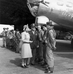 Princess Elizabeth with B-17G Rose of York of the US 306th Bomb Group, Thurleigh, England (US Army Air Forces photo). On 6 July 1944, King George  Princess Elizabeth visited Thurleigh and christened the B-17 in honor of the princess's 18th birthday.
