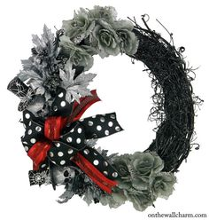 Halloween Silver Skull Wreath Halloween by OnTheWallCharm on Etsy