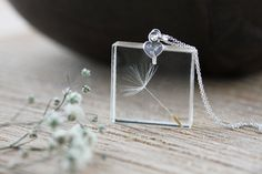 Dandelion Necklace Stamped Silver Heart Gifts for Her