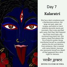 Navratri Day 7 - Dedicated to Goddess Kalaratri Kali Goddess, Indian Goddess, Hindu Festivals, Indian Festivals, Durga Images, Shiva Shakti, Durga Maa, Indiana, Hindu Culture