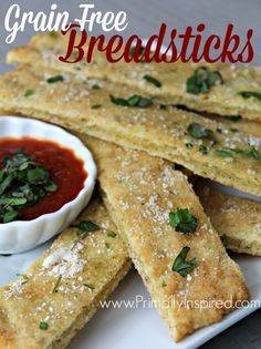 Grain Free Breadsticks (Paleo Gluten Free) from Primally Inspired grain Pan Sin Gluten, Sans Gluten, Real Food Recipes, Cooking Recipes, Healthy Recipes, Healthy Carbs, Healthy Foods, Tortillas, Grain Free Bread