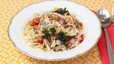 Spaghetti met spekjes, zongedroogde tomaat, oesterbrood en mozzarella