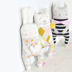 bunny, polar bear and cat doll for kids play or nursery decor  - by PinkNounou