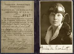 "Amelia Earhart's pilot license (May 16, 1923)...her story is so very tragic.Another historic ""if only""."