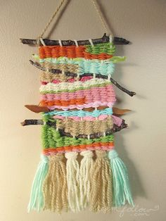 Small twig weaving/ wall hanging in sunset colors 2019 Small twig weaving/ wall hanging in sunset colors by littledear to do with the kids? The post Small twig weaving/ wall hanging in sunset colors 2019 appeared first on Weaving ideas. Weaving Textiles, Weaving Art, Loom Weaving, Weaving For Kids, Stoff Design, Weaving Wall Hanging, Loom Knitting, Free Knitting, Knitting Machine