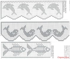 Luty Artes Crochet: Barrados lindos com gráficos. Filet Crochet Charts, Crochet Borders, Crochet Diagram, Knitting Charts, Crochet Motif, Crochet Doilies, Crochet Stitches, Crochet Patterns, Crochet Tablecloth Pattern