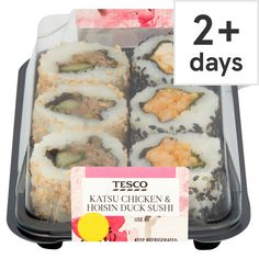 Tesco Katsu Chicken & Hoisin Duck Sushi 134G Theme Days, Sushi, Chicken, Cubs, Sushi Rolls