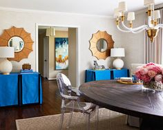 Draped console tables, mirrors and chandelier | Traci Zeller