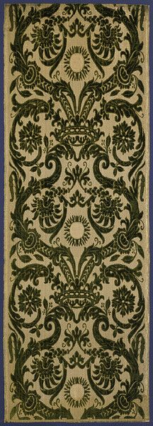 Silk velvet furnishing fabric, 1570-1600 possibly made in Italy  cut and uncut velvet, woven in silk and metallic thread.