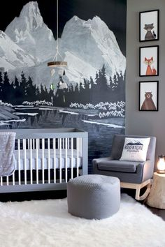 Chalkboard Paint Like You've Never Seen It Before A Magical Chalk Art Mountain Mural - Woodland nursery boy, Outdoor nursery, Baby room decor, Nursery trends, Baby - Baby Room Colors, Baby Room Decor, Nursery Room, Kids Bedroom, Babies Nursery, Nursery Murals, Nursery Bedding, Teen Bedrooms, Child's Room