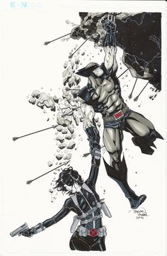 Wolverine Domino Commission by BrianVander on DeviantArt Domino Marvel, Marvel Art, Marvel Dc Comics, Marvel Heroes, Wolverine Art, Logan Wolverine, X Men, Superhero Characters, Comics Universe