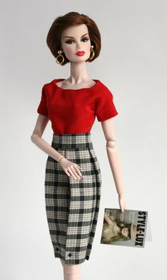 Red blouse and plaid skirt for Barbie by ChicBarbieDesigns on Etsy