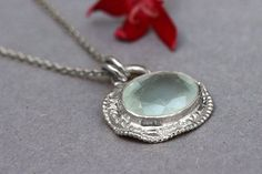 White Gold Necklace, Aquamarine Gold Necklace, Unique Gold Jewelry, 18k Pendant Necklace, Aquamarine