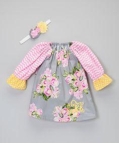 Another great find on #zulily! Floral Monogram Dress & Flower Headband - Infant, Toddler & Girls #zulilyfinds