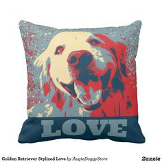 Golden Retriever Stylized Love Throw Pillow by #AugieDoggyStore