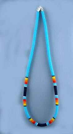 Lakota beaded rope necklace. I love these colors for bead crochet.