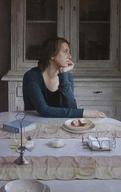Takahiro Hara {figurative art woman seated at table painting}