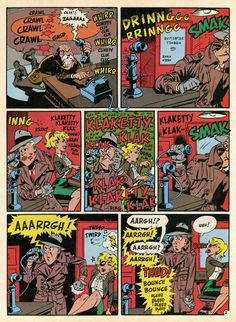 """Sound Effects!"", illustrated by Wally Wood and scripted by Harvey Kurtzman. this was originally published in MAD Magazine, Vol. Comic Sound Effects, George Segal, Miniature Calendar, Lightning In A Bottle, Heroes Reborn, Man Sketch, Lucky Luke, Horror Comics, Children Images"
