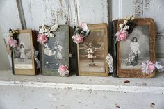 Altered French books wall hanging embellished w/ French postcards grouping of 4 adorned in roses and lace home decor anita spero design