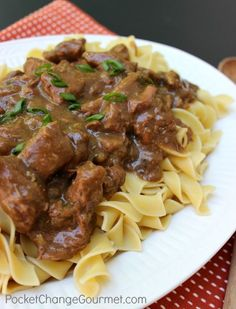 Slow Cooker Beef and Noodles - this was really simple and extremely delicious! Going to try cream of mushroom next time instead of cream of celery. Also may add fresh mushrooms and peas and carrots.