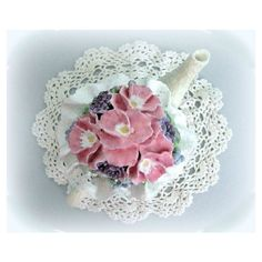 Shabby Chic Centerpiece Teapot Decor Pink Floral Arrangement Cottage... (€33) ❤ liked on Polyvore featuring home and home decor