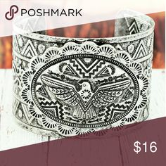 """⭐'Thunderbird' Silver Open Cuff Bracelet⭐ Add a western look with this 'Thunderbird' stylish, open cuff bracelet.  Burnished Silvertone 2"""" Textured Concho with Longhorn 1.75"""" Wide Textured Band 7.75"""" Inside Circumference Including 1.5"""" Gap Miss Me Jewelry Bracelets"""