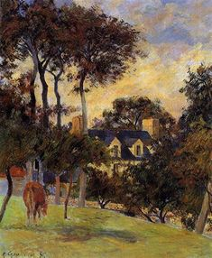 White house, 1885 by Paul Gauguin, Early works. Impressionism. landscape. Private Collection