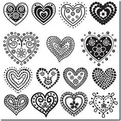15 heart designs that can be used in many ways - enlarged for wall decals, furniture stencils; printed in red for Valentine cards or as embroidery patterns.
