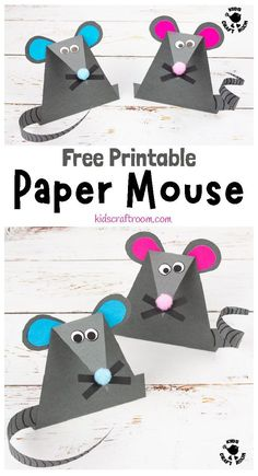 Simple Paper Mouse Craft - - How cute and fun are these paper mice? Easy to make with the free printable template and great for doing alongside nursery rhymes and mouse story books. Chinese New Year Crafts For Kids, Chinese New Year Activities, Paper Crafts For Kids, Art For Kids, Chinese Crafts, Nursery Rhyme Crafts, Nursery Rhymes, New Year's Crafts, Fun Crafts
