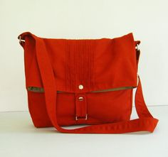 Sale   Canvas Bag in Burnt Orange  Messenger / Diaper by tippythai